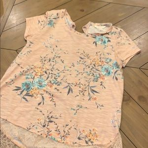 Floral blouse with lace bottom and tie back